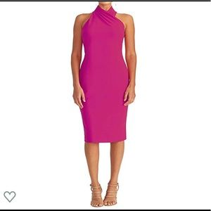 RACHEL Rachel Roy Vibrant Pink Crepe Halter Dress